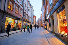 Landscape with the image of Old Town street in Stockholm, Sweden Royalty Free Stock Photography