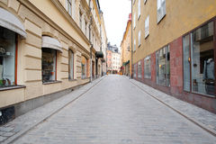 Landscape with the image of Old Town street in Stockholm, Sweden Royalty Free Stock Image