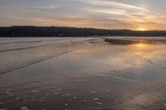 Landscape image of Oxwich Bay at sunset in the Gower Peninsula. South Wales royalty free stock images