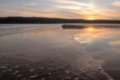 Landscape image of Oxwich Bay at sunset in the Gower Peninsula. South Wales royalty free stock image