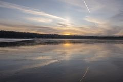 Landscape image of Oxwich Bay at sunset in the Gower Peninsula. South Wales stock photography
