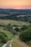 Landscape image Summer sunset view over English countryside Royalty Free Stock Images