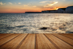Landscape image of sunset over Birling Gap in England with woode Stock Images