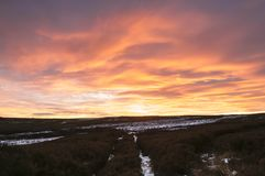 High Crag Sunset. A landscape image of the sunset over High Crag in Nidderdale, North Yorkshire, England. 01 December 2017 Royalty Free Stock Images