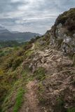 Landscape image of view from Precipice Walk in Snowdonia overlooking Barmouth and Coed-y-Brenin forest during rainy afternoon in. Beautiful landscape image of royalty free stock photography