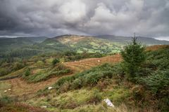 Landscape image of view from Precipice Walk in Snowdonia overloo royalty free stock image