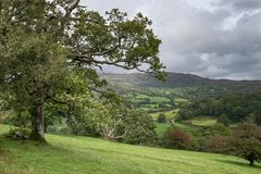 Landscape image of view from Precipice Walk in Snowdonia overlooking Barmouth and Coed-y-Brenin forest during rainy afternoon in. Beautiful landscape image of stock photography