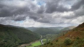 Landscape image of view from Precipice Walk in Snowdonia overlooking Barmouth and Coed-y-Brenin forest during rainy afternoon in. Beautiful landscape image of royalty free stock photo