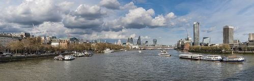 Beautiful landscape image view from Waterloo bridge along River Royalty Free Stock Images