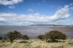 Landscape image of Weston-Super-Mare seen from sea cliffs at Bre Royalty Free Stock Images