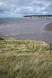 Landscape image of Weston-Super-Mare seen from sea cliffs at Bre Royalty Free Stock Image