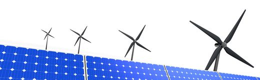 Landscape image of windmills and solar panels Stock Images