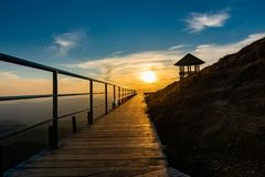 Landscape images of sunset and mountain royalty free stock photos