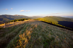 Landscape In The Mountains At Sunset Stock Photos