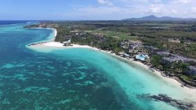 Landscape with Indian ocean and seaside in Belle Mare, Mauritius. Beach Sand and Coastline. stock video footage