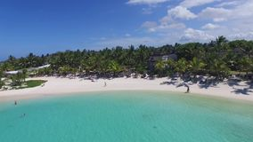 Landscape with Indian ocean and seaside in Belle Mare, Mauritius. Beach Sand and Coastline. stock video