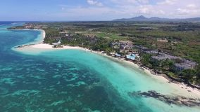 Landscape with Indian ocean and seaside in Belle Mare, Mauritius. Beach Sand and Coastline. stock footage