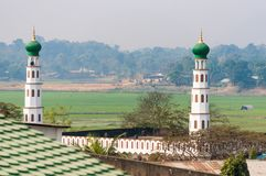 Landscape of Indian village in Assam with minarets of mosque and distant jungle royalty free stock photography
