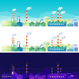 The landscape of industrial area. Day and night scene of industrial area by watercolor paint Stock Photography