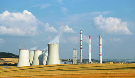 Landscape with industrial building of powerhouse royalty free stock photos