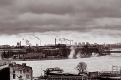 Landscape of an industrial city Stock Images