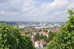 Landscape with industrial settlements, Stuttgart Royalty Free Stock Photo