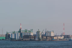 Landscape of industry at port. Royalty Free Stock Images