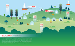 Landscape Infographics. Lake and Hills Hiking Royalty Free Stock Images