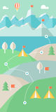 Landscape Infographics. Mountains, Lake and Hills Hiking Route Royalty Free Stock Photo