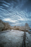 Landscape  in infrared of lake in English countryside in Summer Royalty Free Stock Image