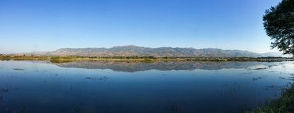 Landscape of Inle Lake at sunny day royalty free stock photos