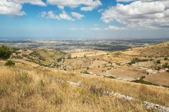 Landscape of inner Sicily in summer day, Sicily island Royalty Free Stock Photo