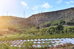 Landscape with installation of renewable energies Stock Images