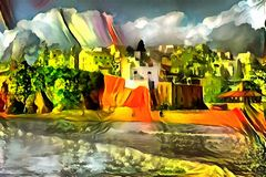 Landscape interpretation in the style of surrealism. Landscape panorama interpretation in the style of surrealism Royalty Free Stock Image