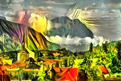 Landscape interpretation in the style of surrealism. Landscape panorama interpretation in the style of surrealism Stock Photos