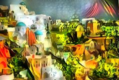 Landscape interpretation in the style of surrealism. Landscape panorama interpretation in the style of surrealism Royalty Free Stock Photo