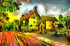 Landscape interpretation in the style of surrealism. Landscape panorama interpretation in the style of surrealism Royalty Free Stock Photos