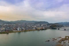 Landscape of inuyama city view with kiso river Royalty Free Stock Image