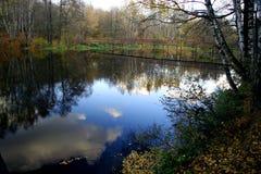 Landscape with the iron bridge. Royalty Free Stock Image