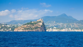 Landscape of Ischia with Aragonese Castle Stock Images