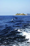 Landscape with island Mamula from the sea Stock Photo