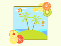 Landscape with an island and palm trees. Hot air balloon in sky. Frame with citrus. Vector Royalty Free Stock Images