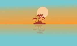Landscape island with reflection silhouettes Stock Images