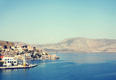Landscape of island Symi, Greece. Panorama of the part city Stock Photography