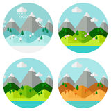 Landscape. Isolated landscape icons on white background. Four seasons. Landscape set. Winter, spring, summer, autumn. Nature landscape in circles. Flat style Stock Photos
