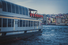 Steamship in stanbul city Royalty Free Stock Photo