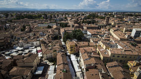 Landscape of italian city. An overview of an Italian city taken from the bell tower of the cathedral on a summer day Royalty Free Stock Photos