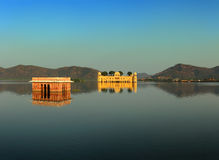 Landscape with jal mahal on lake in Jaipur Royalty Free Stock Image
