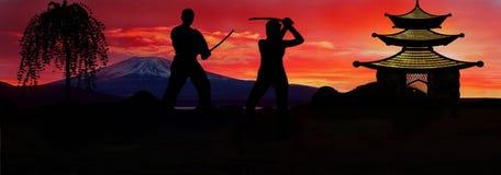Landscape Japan. Two samurai, duel at sunset, japan Stock Image