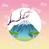 Landscape japan culture design. Mountain tree flowers landscape japan culture landmark asia famous icon. Colorful design. Vector illustration Stock Photos